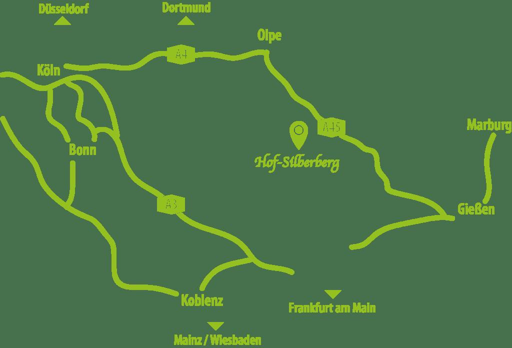 Anfahrtsskizze zum Hof-Silberberg in Daaden
